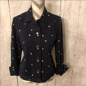 Charter Club Navy & White Polka Dot Jean Jacket